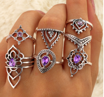 New retro purple crystal joint ring set female hollow flower diamond ring 7 piece set