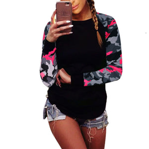 Long sleeve stitching camouflage T-shirt