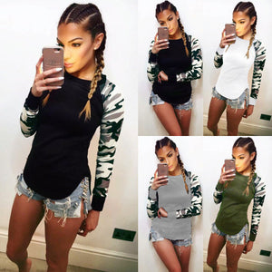 Fast sell eBay hot 2017 autumn long sleeved shirt stitching camouflage T-shirt 5 color 8 yards