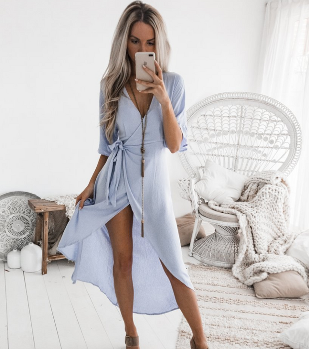 Deep V neck strap irregular mini dress