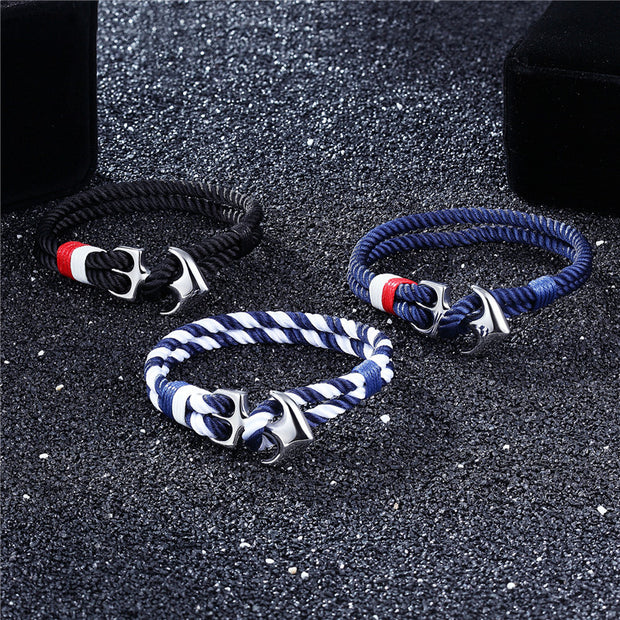 High Quality Anchor Bracelets Men Charm Nautical Survival Rope Chain Paracord Bracelet Male Wrap Metal Sport Hooks