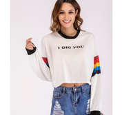 Rainbow Long Sleeve Letter Print Tee