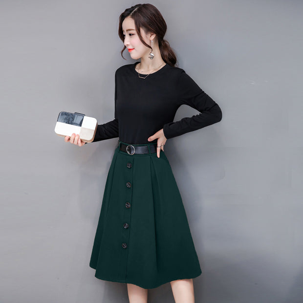 Casual Half-sleeve Belted Midi Dress