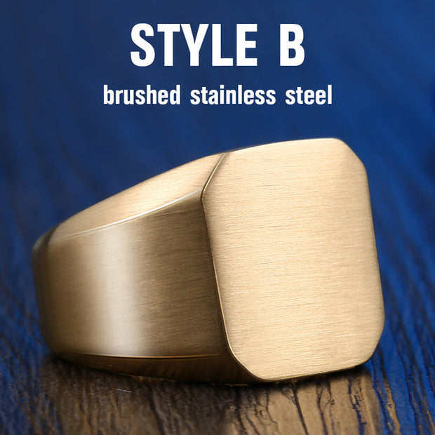Stainless Steel Polished Signet Solid Rings
