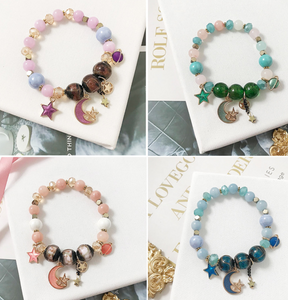 Bohemian creative starry bracelet Japanese handmade star moon glass beads crystal beaded jewelry accessories
