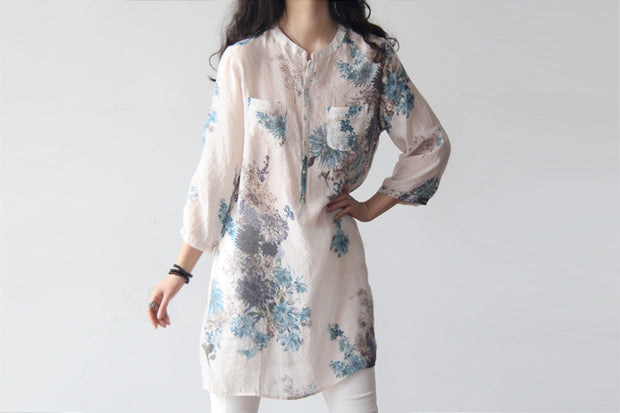 Plus size Cotton Linen 3/4 sleeve printed Blouse