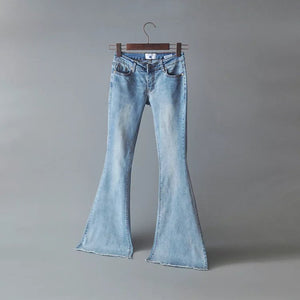 Slim Fit Irregular Flared Bell-bottom Jeans Trendy Denim Pants