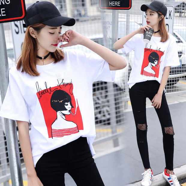 New Beauty Printing Pattern Round Neck Loose Fit Large Size T-shirt