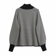 Half-high collar striped loose sweater bottoming sweater