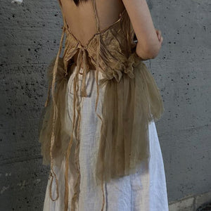 Irregular pleated stitching strapless halter camisole