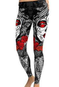 Skull Print Tattoo Halloween Pants