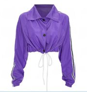 Short Cut Drawstring Windbreaker Jacket