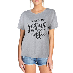 T-shirt fueled by jesus men and women European and American street short-sleeved lovers