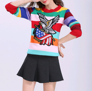 2018 autumn color bright silk striped eagle pattern sweater women's pullover sweater loose sweater