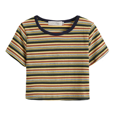 LULUSWINGS Original Design 2018 New Knitted Round Neck Stripe, Slim Short Sleeve T-shirt, Short Short Show Umbilical
