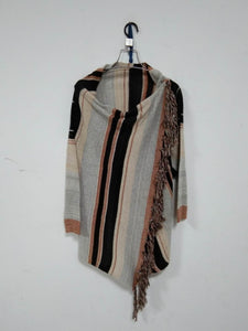 Irregular Fringed Knit Shoulder Stripe Cardigan