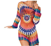 Flower Hollow knitted long-sleeved Cover Up