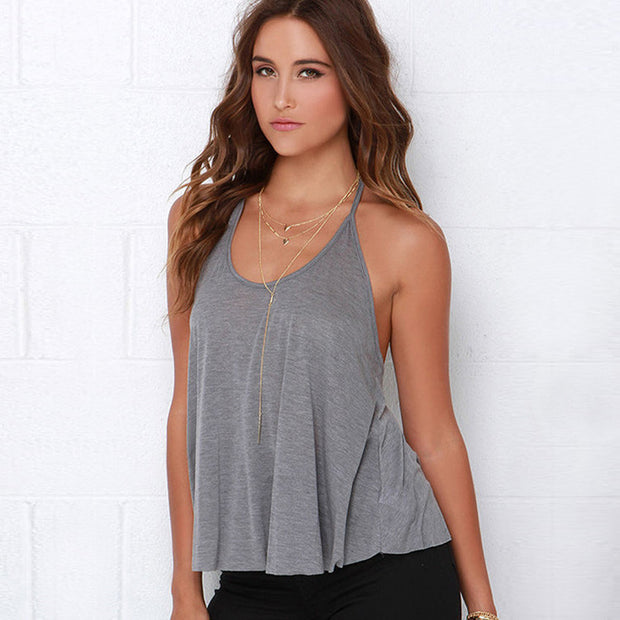 Sexy Y-style backless sleeveless top Loose bottoming solid color camisole female summer