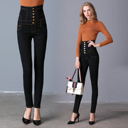 2018 spring new black high waist large size pants Pants small feet jeans slim jeans long pants