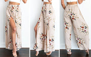 Summer large size women's European and American chiffon printing split loose wide leg pants casual pants