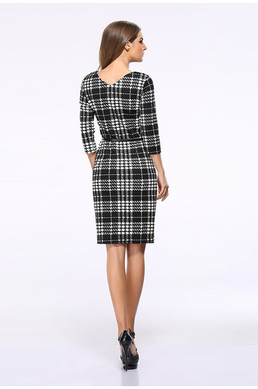 USA SIZE European and American women's black and white plaid dress square collar seven-point sleeves slim temperament pencil skirt