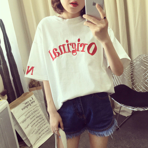 The summer wind BF Harajuku T-shirt short sleeve shirt Korean letters loose thin all-match students tide half sleeve clothes
