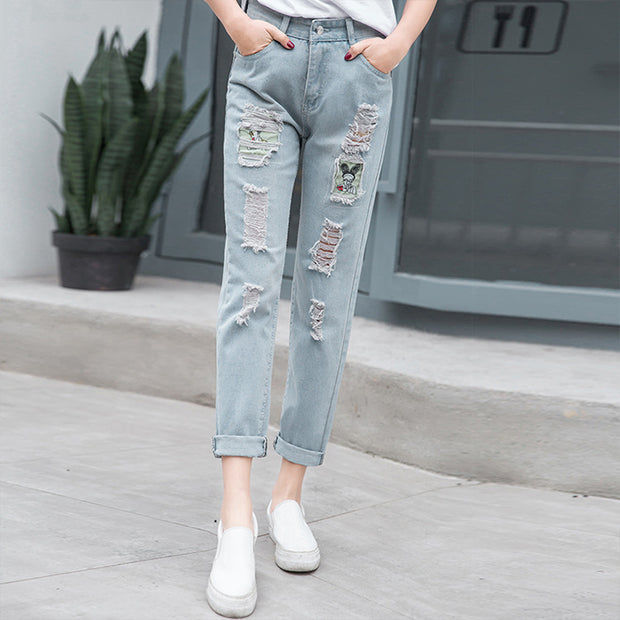 The new all-match denim trousers ladies sanding cartoon picture collage female micro hole jeans for sale