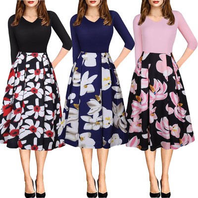 V collar printing splicing dress