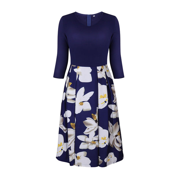 Half-sleeve V-collar Floral Ruffle Midi Dress