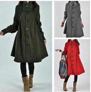 Windbreaker thickening Solid color woolen coat loose warm coat