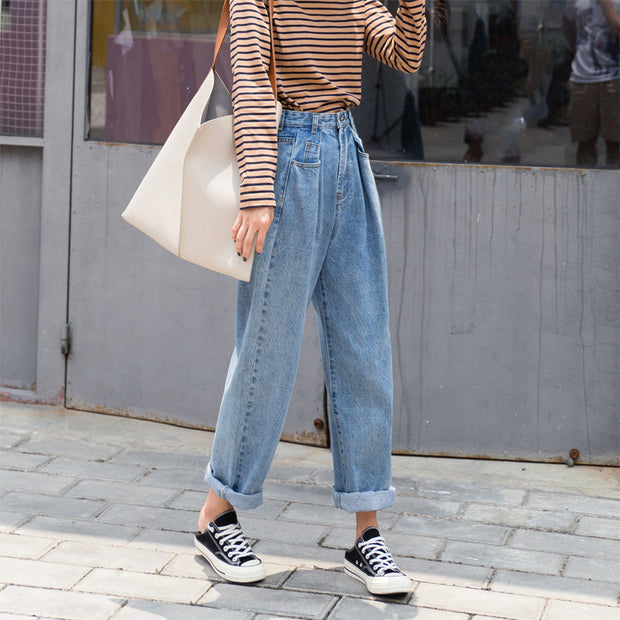 Loose waisted skinny Blue Jeans Straight legged pants nine female BF wind all-match wide leg pants in autumn and winter