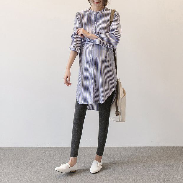 Spring and Autumn maternity dress new Korean version of the pregnant women shirt skirt long-sleeved pregnant women shirt striped stand collar long dress