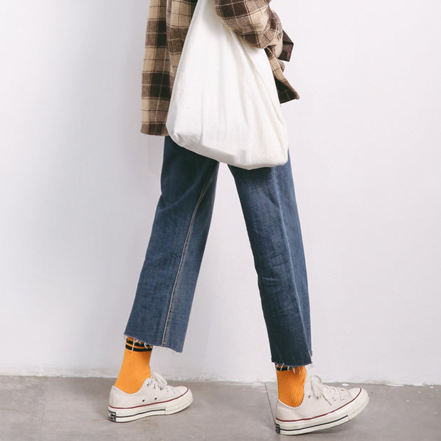 2018 Korean jeans autumn and winter, nine points wide leg pants loose loose thin edge of the pants, a woman on behalf of