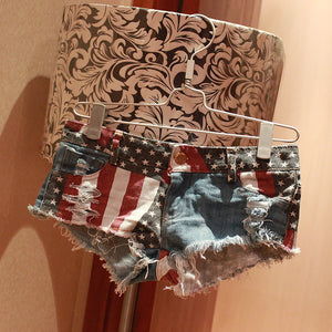 American Flag Patterned Mini Denim Pants