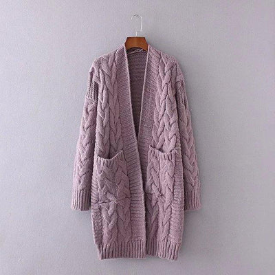 Women's Knit Cardigan Sweater Long SleeveFront Cardigans Loose Sweater With Pockets