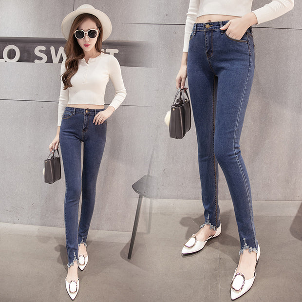 2018 new Korean women slim slim stretch jeans waist jeans and pants