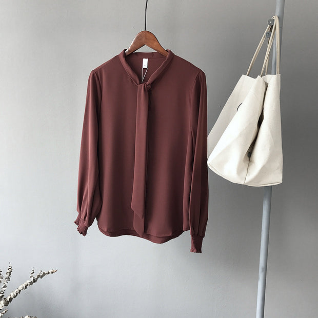 Korean stylish long sleeve Solid color Blouse