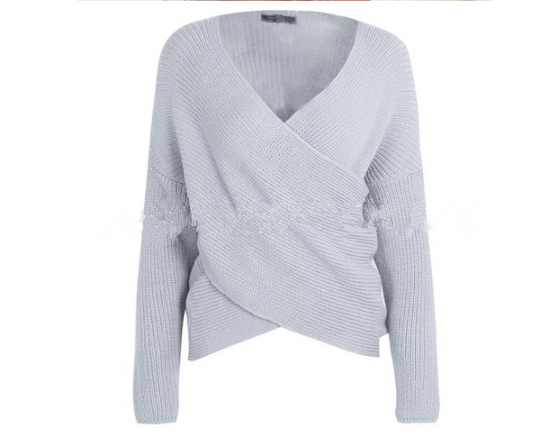 Camilla Open-neck Knitted Wrap Sweater
