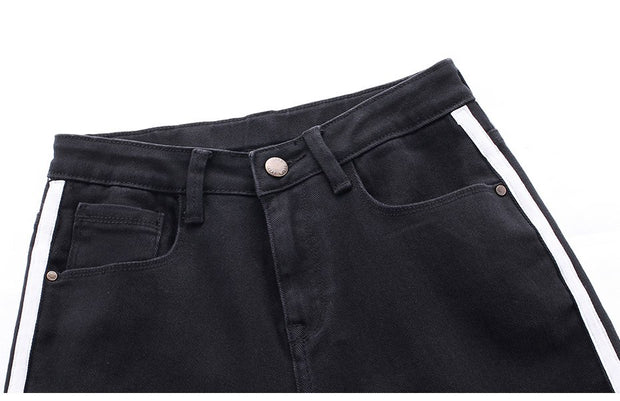 Large size straight jeans fat mm loose bf wind nine points pants thick black pants was thin