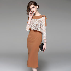 2018 new autumn ladies dress temperament spell lace fishtail skirt slim package hip skirt in the original tide