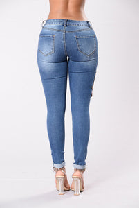 Rose Embroidery Stretch Denim Jeans