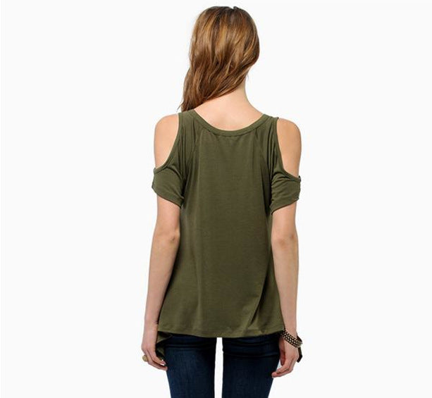 European and American style V-neck strapless short-sleeved fishtail irregular hem T-shirt