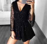 lace jumpsuits rompers Women deep v 2019 long sleeve shorts