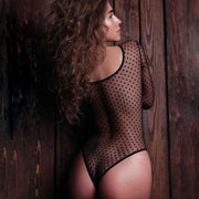 Long sleeve sexy perspective dot mesh gauze stitching bodysuit