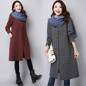 Women's quilted national wind thickened long trench coat