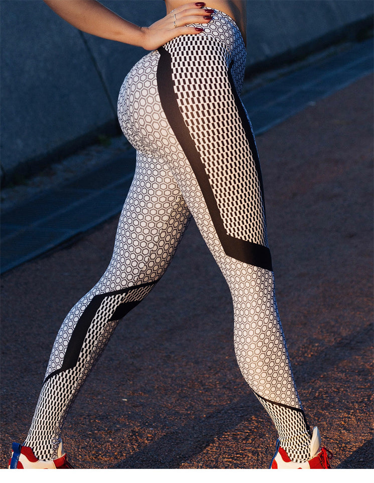 New honeycomb black and white dot digital printing, hip lift, high waist bottompants
