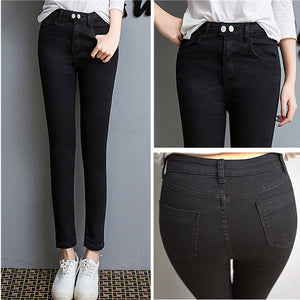 Double Breasted Stretch Denim Jeans