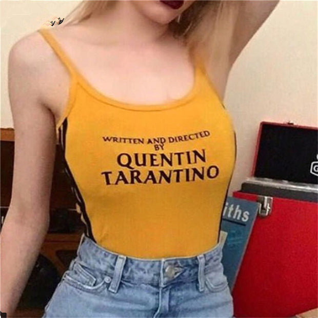 Women Casual Letter Print Yellow Bodysuit
