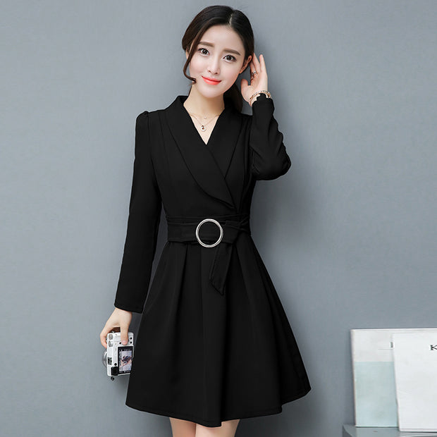 New long sleeve v-neck solid color mini dress