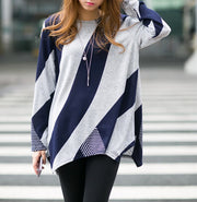 Hot stripe pattern long Sleeve blouse Tops